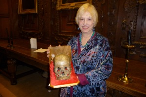 Kate Charles with Eric the skull